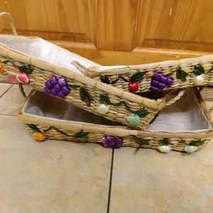 Straw Woven Basket Set Of 3 Fruit Accent. Conditio